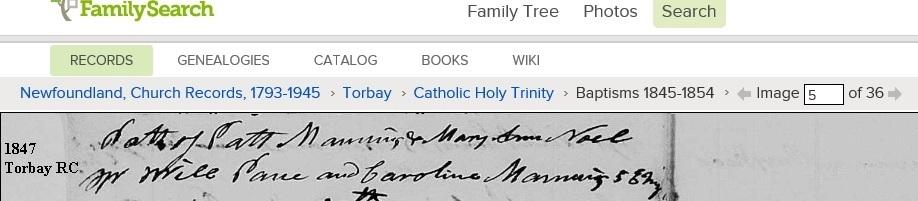 Mary Ann Noel Torbay 1847