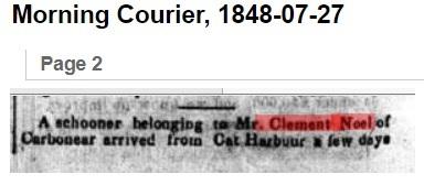 Carbonear Clement schooner 1848